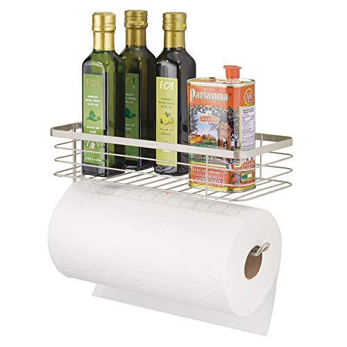 mDesign Papierhandtuchhalter mit Gewürzregal und Mehrzweckregal – Wandhalter Aufbewahrung Organizer für Küche, Speisekammer, Wäsche, Garage – Robustes Metalldraht-Design – Satin