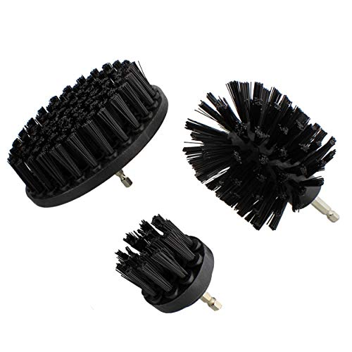 ABN Nylon Scrubber Drill Attachment Cleaning Brush 3pc Set Black Hard Bristles for 1/4in Power Drill, Tough Outdoor Jobs