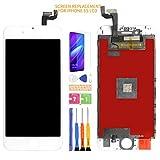 Para iPhone 6S pantalla LCD reemplazo digitalizador kit de montaje de vidrio, película templada gratis, pegamento y herramientas con marco, sin botón de inicio (blanco)