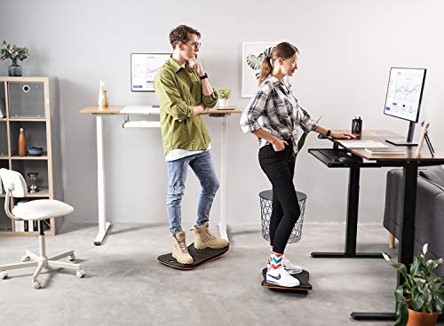 Product Image 3: FEZIBO Standing Desk Anti Fatigue Mat Wooden Wobble Balance Board Stability Rocker with Ergonomic Design Comfort Floor Mat (Medium, Obsidian Black)