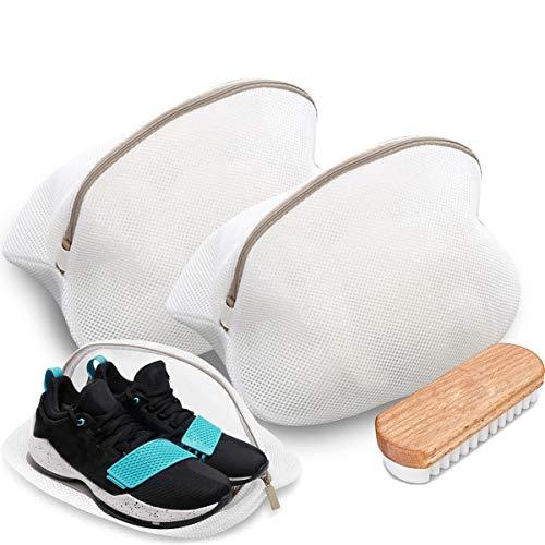 O³ O3 Red de lavandería para zapatos // 2 Piezas + Cepillo para zapatos de gamuza // Bolsa de lavado para lavadora // Bolsa para zapatos
