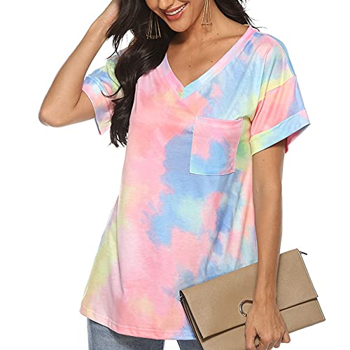 WXDSNH Camiseta De Manga Corta con Degradado para Mujer Cuello En V Bolsillo Suelta Camisetas Casuales De Verano Camisetas con Teñido Anudado Camiseta Suelta