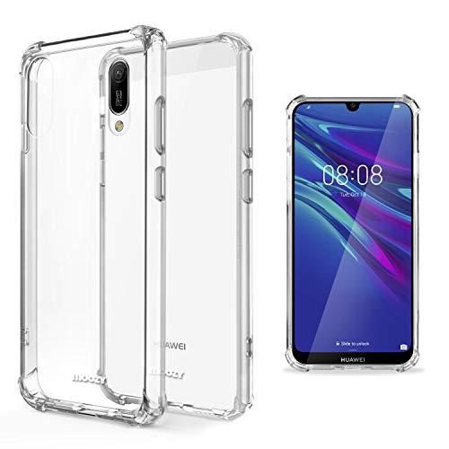 Moozy Funda Silicona Antigolpes para Huawei Y6 2019 - Transparente Crystal Clear TPU Case Cover Flexible