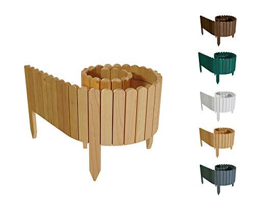 Floranica® Bordura Rollborder Recinto in Legno | srotolatile della 203 cm (accorciato) | dei paletti | Giardini | steccato | palizzata | impregnato, Altezza:20 cm, Colore:Naturale