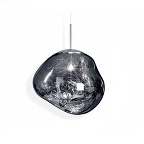 MZStech Moderne lampe unregelmäßige Form Glas Pendelleuchte Kronleuchter Licht LED Hängelampe (30cm, Silber)