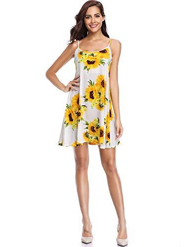 MSBASIC Sommer Kleider Sommerkleid Weiss Kleid Casual Kleid Kurz Sexy aus weißem Sonnenblumendruck Groß