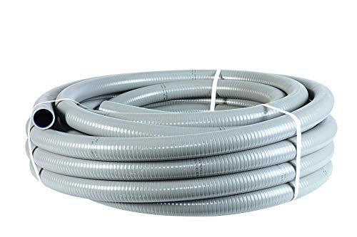 well2wellness® PVC Flexschlauch 40mm / PVC Klebeschlauch 40mm für Pool + Teich, 10m Rolle