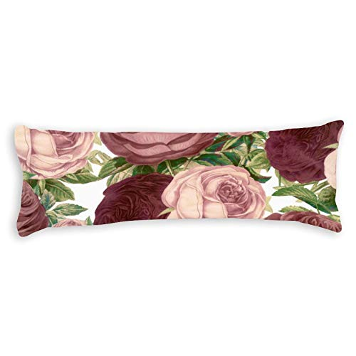 Vintage Country Chic Burgundy Pink Roses Flowers Ultra Soft Microfiber Long Body Pillow Cover Pillowcases with Hidden Zipper Closure for Kids Adults Pregnant Women, 20' x 54'