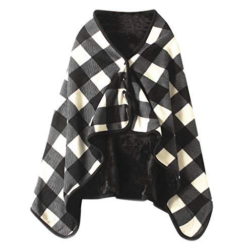 Y56 Dame Multifunktions Doublelayer Tartan Plaid Blanket Schal Wrap Schal Winter warm Ponchos Schal TV-Decke Blanket Decke Faul Kuscheldecke Geschenk (E)