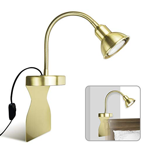 Solfres Innovative Design Headboard Reading Light. No Drilling. Golden Reading Lights forBooksinBed. Dimmable LED Book Reading Lamp with Bulb. Movable&Flexible, Gold