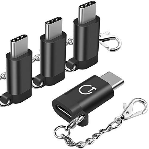 Adaptador USB C, Gritin 4 pack Adaptador USB Type C a Micro USB Conector Convertidor con Llavero para Carga y Transferencia de Datos para MacBook , OnePlus 2, Huawei P9, Nokia N1 y más