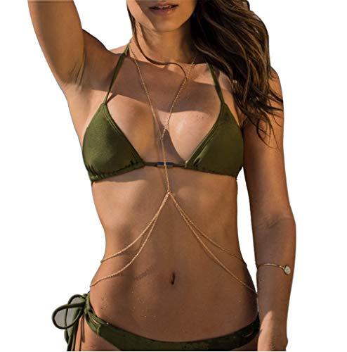 Althrorry Body Chain Bikini Chain Crossover Belly Waist Chain