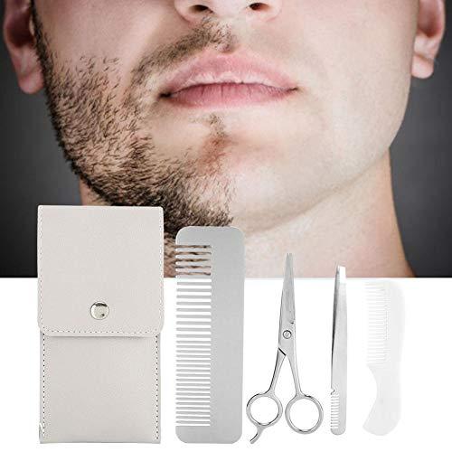 Ensemble de ciseaux de coupe de barbe professionnel, kit de brosses à barbe inclus Ciseaux Pince à épiler Moustache Kit d'outils pour les poils du visage Barbe, poils de nez, coupe(Kit de barbe)