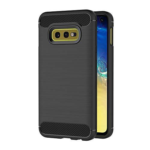 Preisvergleich Produktbild AICEK Compatible Samsung Galaxy S10e Hülle,  Schwarz Silikon Handyhülle für Samsung S10e Schutzhülle Karbon Optik Soft Case
