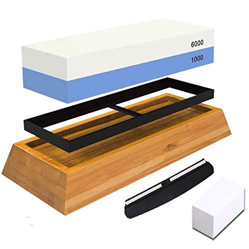 Mes slijper Stone Kit, Dual Side 1000/6000 Grit Waterstone, Professionele Whetstone slijpsteen met anti-slip siliconen houder & Bamboe Blok, Honing Waterstone