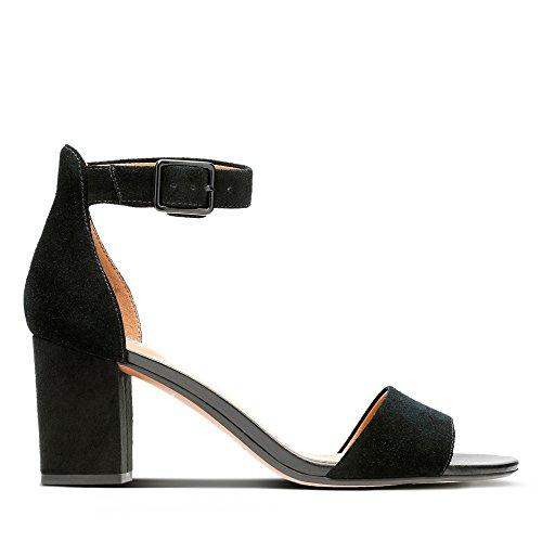 Clarks Deva Mae, Zapatos con Tacon y Correa de Tobillo para Mujer, Negro (Black Suede-), 40 EU