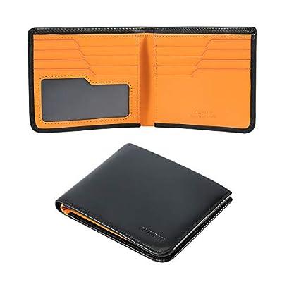 Calfskin Slim Wallets For Men RFID Blocking Leather Minimalist Front Pocket Mens Bifold Wallet Easy Access Ladder Card Slots (Black)