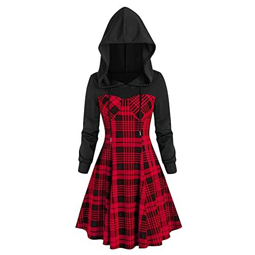 NISOWE Disfraz de Navidad para mujer, manga larga, con capucha, a cuadros, vestido de fiesta, rojo, XL
