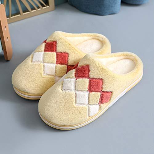 Pantuflas,Zapatillas de Mujer cálidas de Felpa Antideslizantes para Amantes de Invierno Zapatos de Interior Suela Suave Deslizamiento en el Piso de casa-Yellow,6