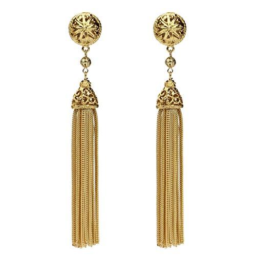 Ben-Amun Jewelry ゴールドラウンド タッセル ドロップ クリップオン イヤリング