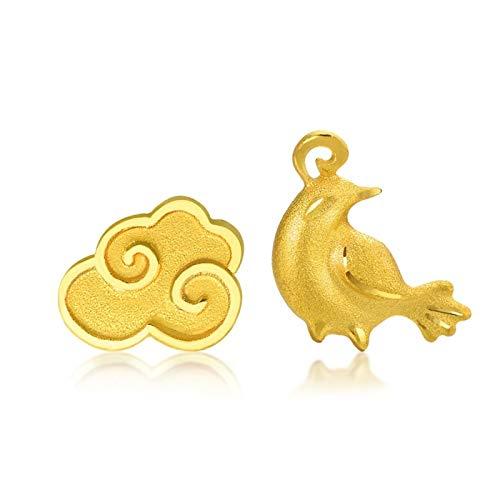 SonMo 18 Karat 750 Gelbgold Ohrringe Ohrstecker Echtgold Ohrringe Mädchen Elster Und Wolken Form Ohrhänger Perlen Glückbringer Schmuck für Hochzeit Verlobung 2 Stück/1 Parre