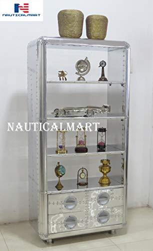 Luxury Designer Aluminum Bookcase with Drawers - Art Deco Vintage Furniture