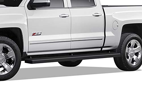APS Wheel to Wheel Running Boards 5in Custom Fit 2007-2018 Chevy Silverado GMC Sierra Crew Cab 5.5ft Short Bed & 2019 2500HD 3500 HD (Exclude 07 Classic)(Include 19 1500 LD) (Nerf Bars Side Steps Bar)