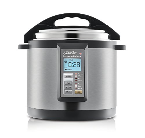 Sunbeam PE6100 Aviva Multi Cooker | 6L Pressure Cooker & Slow Cooker | 7 Cooking Pre-Sets | Timer & Delay Functions | with Steaming Rack, Serving Spoon, Rice Spoon & Measuring Cup | Stainless Steel Stainless Steel/Gray