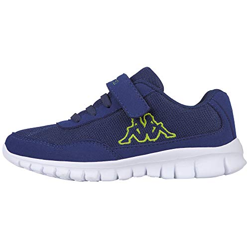 Kappa Jungen Unisex Kinder Follow Sneaker, Blue/Lime, 25 EU