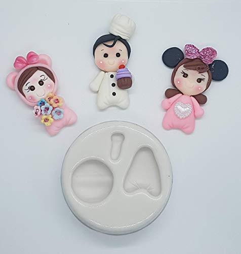 Moldes silicona manualidades niña disfraz cocinero muñeca moños apliques porcelana fría fimo