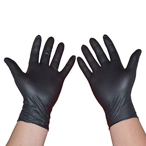 guanti in lattice neri QIFENYEDENG Guanti in Lattice monouso,Guanti da 100 Pezzi , Guanti in Nitrile Cleaning Lavaggio per la Pulizia Domestica Guanti antistatici da Laboratorio per Nail Art Neri , l