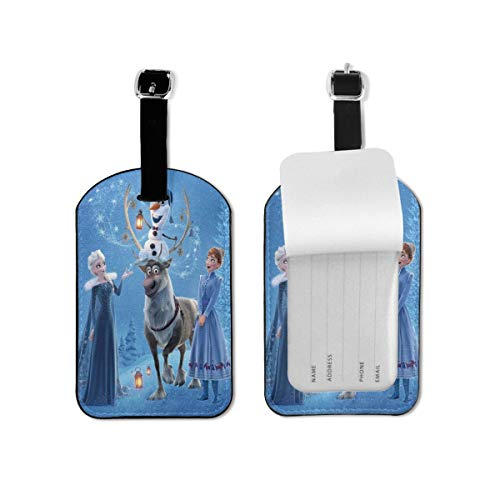 Luggage Tags Frozen Cartoon Luggage Tags Suitcases Baggage Bags Adjustable Strap Leather Luggage Tag For ID Labels Set For Travel