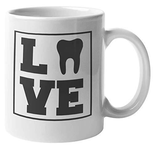 Amor de un dentista. Taza de regalo de café y té para higiene bucal para dentista masculino o femenino,Higienista bucal, ortodoncista, periodoncista, médico, cirujano de dientes, asistente médico, den