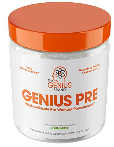 Genius Pre Workout Powder – All Natural Nootropic Preworkout & Caffeine Free Nitric Oxide Booster...