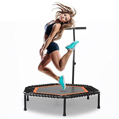 YIOY 40' Exercise Mini Trampolino Fitness Con Corrimano Regolabile, Copertura A Molla Rilegante Fitness E Gambe Pieghevoli