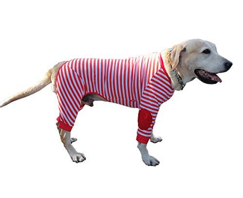 BT Bear - Pijama de perro grande, flexible, transpirable, con cremallera, suave, algodón, a rayas, para perros medianos, perros grandes