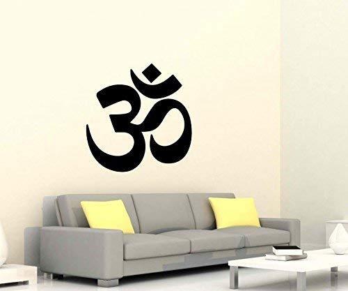 Wandtattoo Reiki Yoga Übung Sport Auto Om Zeichen Ohm Energie Buddha Asien Sprüche Schriftzug Wand Aufkleber 5B262, Farbe:Schwarz Matt;Hohe:60cm