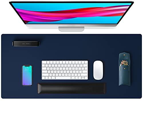 Alfombrilla de escritorio, alfombrilla de ratón, protector de escritorio, papel secante de cuero de PU antideslizante para juegos de oficina/hogar(80cmx40cm,Azul oscuro)