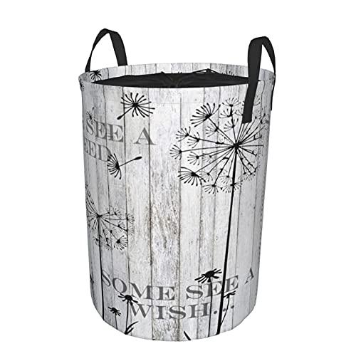 Cesta de almacenamiento, pared de granero rústico, semillas de deseos de diente de león, tablero de madera de cabaña, gran cesto de lavandería plegable con asas 19'x14'