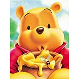 5D DIY Diamond Painting by Number Kit for Adults and Kids,Cute Cartoon Winnie The Pooh Round Dril Beads Crystal Rhinestone Cross Stitch Picture Supplies Arts Craft Wall Sticker Dcor,16'X12' Pattern 1