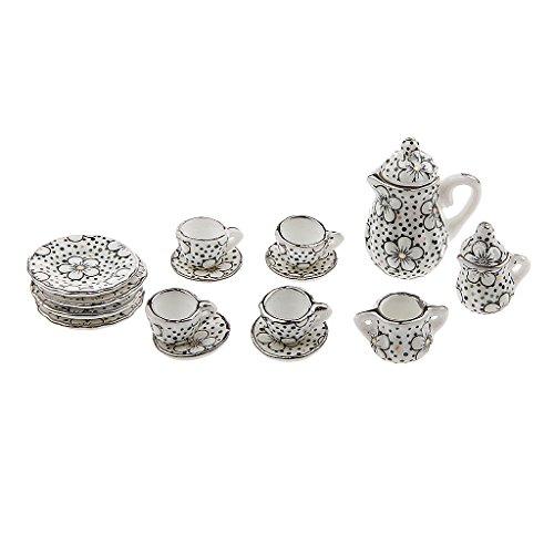 Sharplace 17pcs/Set 1:12 Puppenhaus Geschirr - Miniatur Teeservice Tee Set mit Blume Muster - Zubehör für Puppen Haus Dekoration