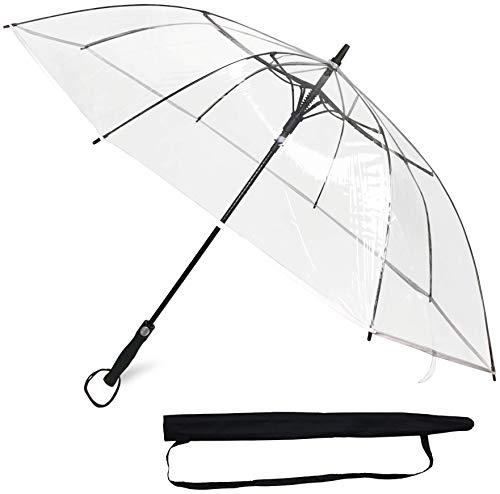 Sternenfunke Regenschirm groß XXL Ø130 cm transparent, Komfort Druckknopf, mit Tragehülle, Automatik, Perfekt als durchsichtiger Partnerschirm oder Hochzeitsschirm - Rand weiß