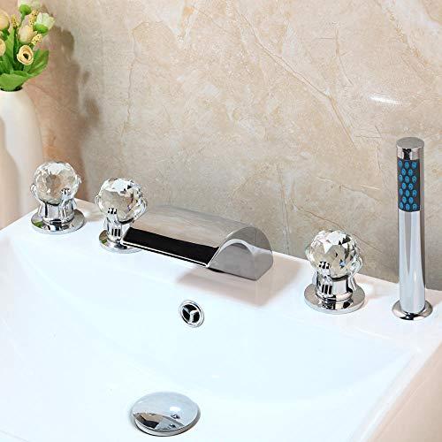 Linyuan Set da 5 pezzi in ottone massiccio cromato Set di erogatori a cascata montati sul becco a cascata Set di doccette per doccia da bagno con doccetta