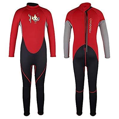Kids Wetsuits Thermal Swimsuit, 2mm Neoprene Back Zip Keep Warm for Boys Girls Toddler Youth Swimming,Diving,Surfing (Black/Red, 4)
