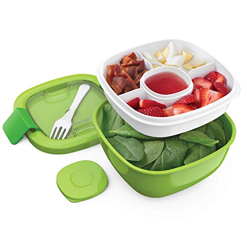 Bentgo Salad BPA-Free Lunch Container with Large 54-oz Salad Bowl, 3-Compartment Bento-Style Tray for Salad Toppings and Snacks, 3-oz Sauce Container for Dressings, and Built-In Reusable Fork (Green)