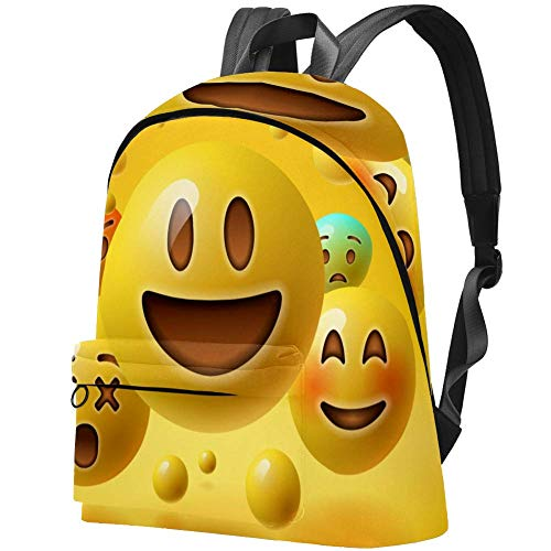 Smiley Amarillo Emoticones Emoji Bolso Adolescentes Mochila Escolar Mochilas livianas Mochila de Viaje Mochilas diarias