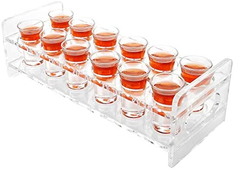 D Z Shot Glass Holder 12 Heavy Base Crystal Clear Shot Glasses for Whiskey Vodka Rum Cocktail product image