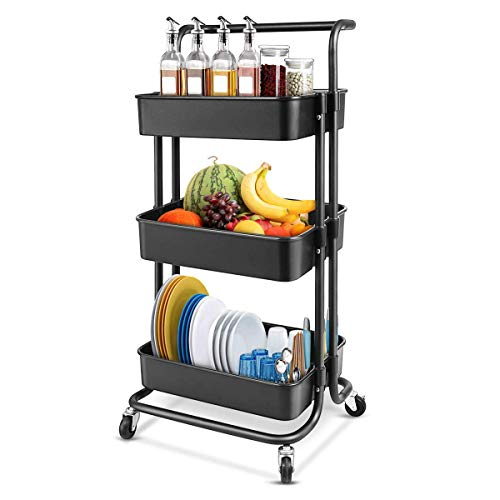 JAKAGO Keuken Trolley op Wielen 3 Tier Mand Rolling Cart 132 lbs Capaciteit Opslagrek met 2 Afsluitbare Wiel Plank voor Home Office Keuken Badkamer Schoonheid Salon Spa Serveren