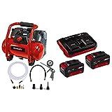 Einhell 4020450 TE-AC 36/6/8 Li OF Set-Solo Akku-Kompressor, Rot, Schwarz + Starter Kit Akku und Ladegerät Power X-Change, 18 V, 2x3,0 Ah Akku