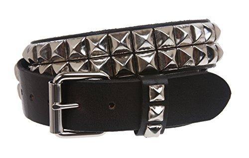 Cinturón de cuero sólido con tachuelas de plata de 1 1/2 pulgadas a presión en dos filas Punk Rock Star